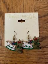 Vintage Christmas Sleigh/Reindeer Earrings - $18.50