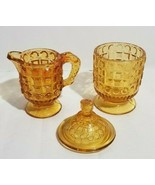 Kemple Amber Glass Waffle & Button Child's Play Creamer & Covered Sugar  - $19.40