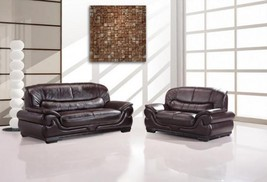 Maxwest C115-DB Modern Bark Brown Genuine Leather Sofa and Loveseat Set 2 Pcs
