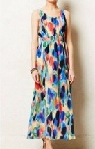 Anthropologie Dress Aloidia Silk maxi dress Watercolor Size 8 - $49.99
