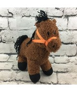 "10"" Plush Baby Adventure HORSE Pony Brown Stuffed Animal Yarn Hair Soft ... - $14.84"