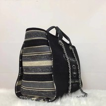 NEW AUTHENTIC CHANEL 2019 BLACK CANVAS STRIPE LARGE DEAUVILLE 2 WAY TOTE BAG  image 3