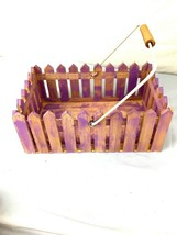 Purple Picket Fence Basket Planter Floral Holder Table Decor Organization - $39.60