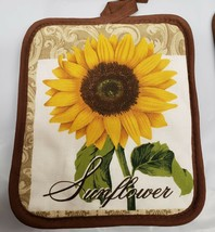 "Set of 2 Same Printed JUMBO Pot Holders, 7"" x 8"", SUNFLOWER with brown b... - $9.89"