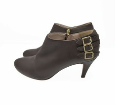 Vince Camuto Women's Sz 9.5M EU 39.5 Brown Leather Zip Up Buckle Heeled ... - $39.99