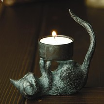 Adorable Cat Kitty Tea light Candle Antique Brass Candle Holder,3''H - $34.65