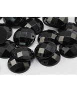 14mm Jet Black CH37 Round Flat Back Sew On Beads for Crafts - 50 Pieces - $5.85