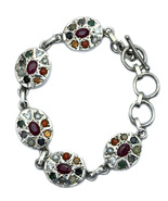 Navaratna Nine Gemstones Astro Bracelet Sterling Silver - $135.00