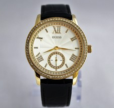 New GUESS U0642L2 Elegant Crystal Accented Stainless Steel Leather Women Watch  - £83.61 GBP