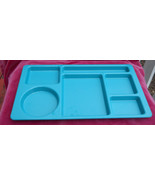 CAMBRO CAFETERIA LUNCH CAMPING TRAYS 4 SCHOOL PICNIC GREEN 6 SECTIONS US... - $33.65