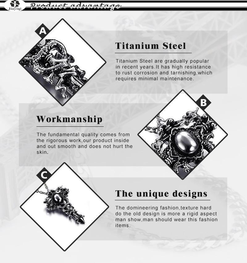 JIAYIQI Sword, Dragon, Cross Theme Men's Necklace / Pendant - Titanium Steel