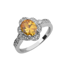 925 Sterling Silver Yellow Color Gemstone White Topaz Stackable Women Ring - $11.26