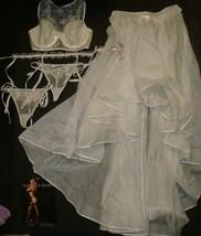 Victoria's Secret 34C,34D,34DD BRA SET+garter+SKIRT sequin appliqué Bridal WHITE - $239.99