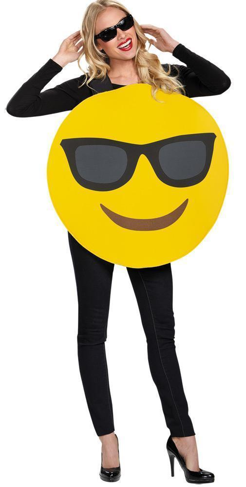 Emoticon Emoji Sunglasses Costume Yellow Adult Halloween Unique Funny DG91512