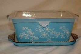 Temptations 2019 Floral Lace Light Blue Square .75 Quart Baker Lid It An... - $15.52