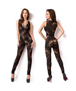 Sexy Accented Character Overall Catsuit Jumpsuit découpes Black Transparent - $47.08