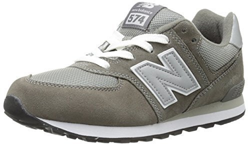 New Balance KL574 Grade Running Shoe (Big Kid), Grey/Silver, 4 M US Toddler