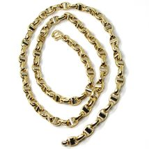 """18K YELLOW WHITE GOLD CHAIN SAILOR'S NAVY MARINER LINK BIG OVAL 5 MM, 24"""" image 4"""