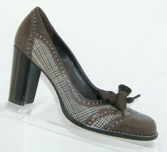 Franco Sarto 'Halley' brown leather round toe bow wingtip brogue plaid h... - $33.30