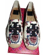 Tory Burch ELISA Canvas Flats Slip On Loafer Espadrilles Navy Logo Shoes... - $129.00