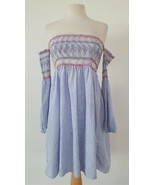 Rebellion Light Blue and White Stripes Dress Bare Shoulders Long Sleeves... - $18.81