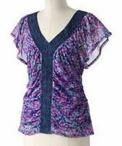 Elle Floral Mesh Top Shirred Waist Crochet V Neck Blouse Top S (4-6) - $24.99