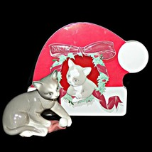 NAO by Lladro 7428 Kittys Christmas Cat Playing with Santas Hat Tiny Chip on Ear - $89.99