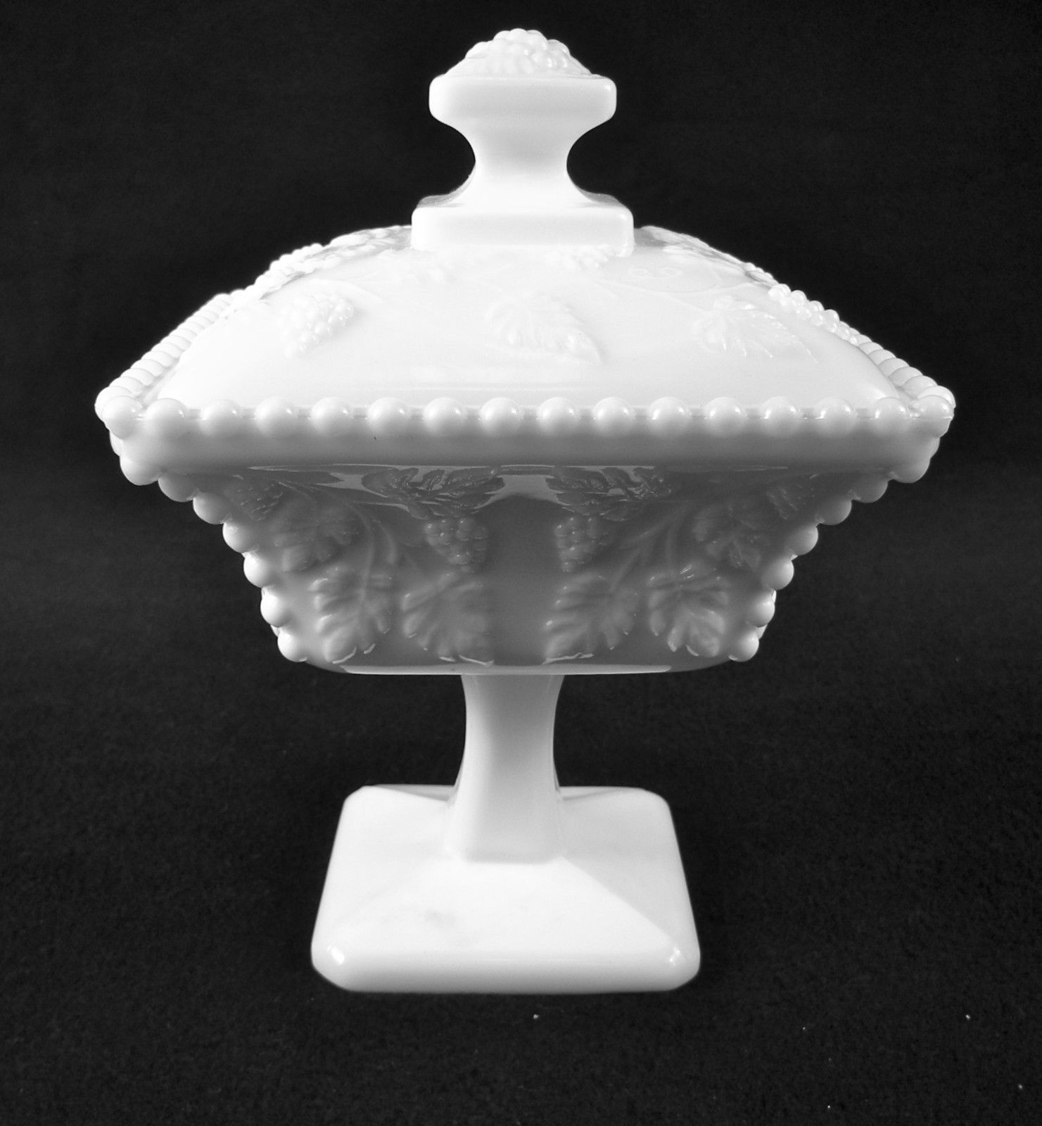 Vintage Imperial Glas Covered Candy Dish ~ Grapess & Vine Motif Milk Glass 1950s