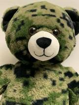 "Build A Bear Plush Camouflage Teddy Bear Green Camo 17"" Stuffed Animal M... - $17.63"