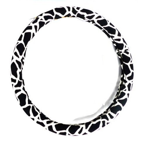 Fashion Design Classic Leopard Girl Steering Wheel Cover,BLACK & WHITE