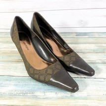 Etienne Aigner Pointed Heels Sz 7.5 Brown Leather Logo-Chain Print Fabric - $23.36