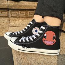Pokemon Shoes Anime Design Charmander Converse All Star Black Canvas Sne... - $99.00