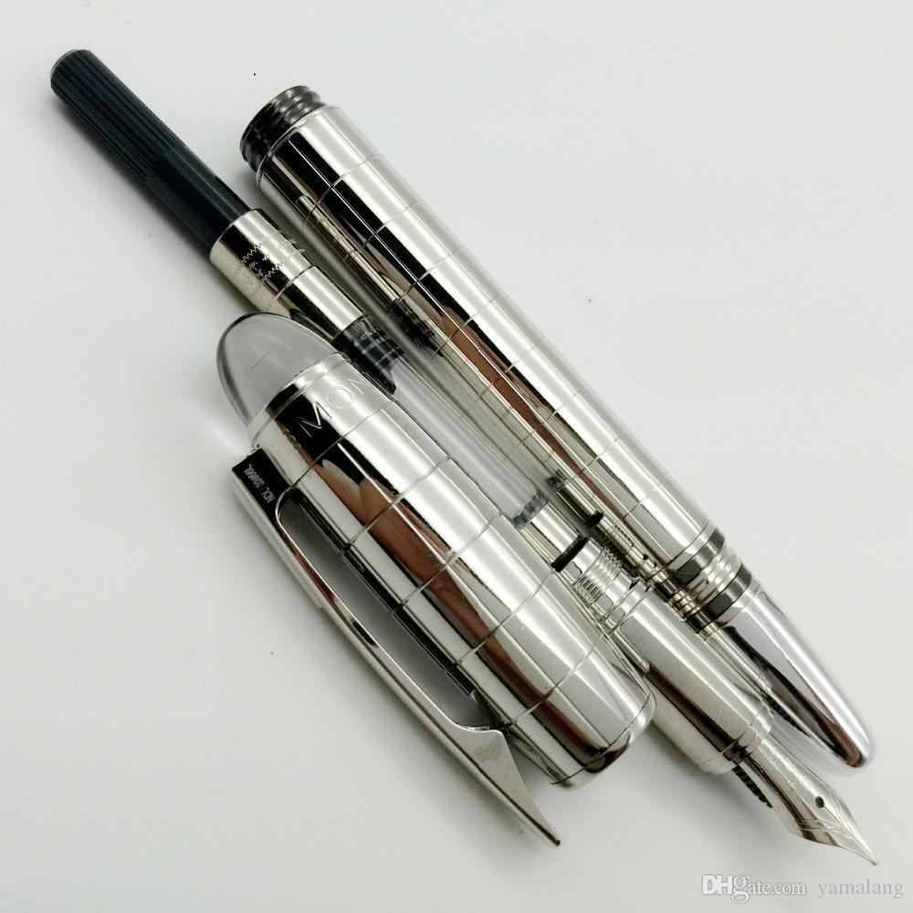 1 PCS MB Fountain Pen 14K nib 4810 TOP quality Silver checks Stationery office s