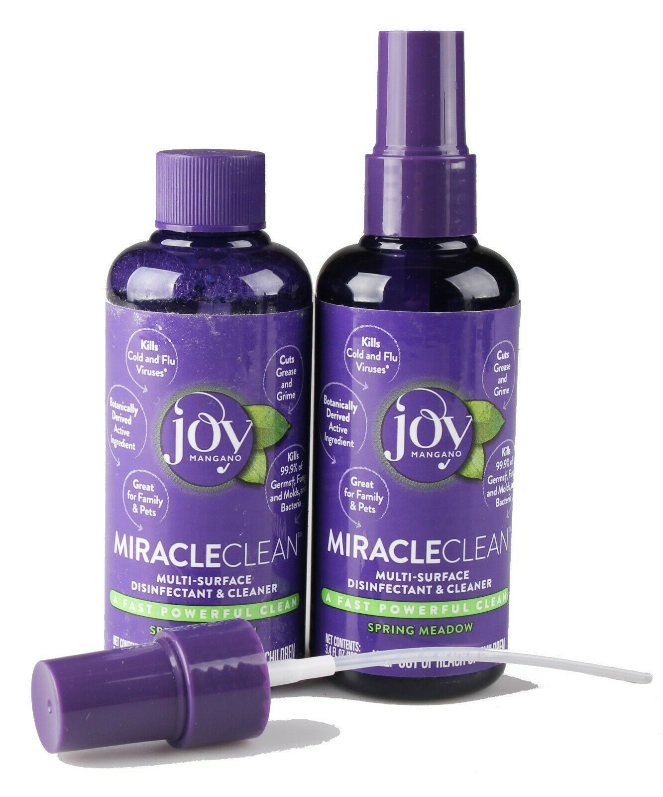 2x Joy Mangano MiracleClean Travel Size Disinfectant Cleaner Set Spring Meadow
