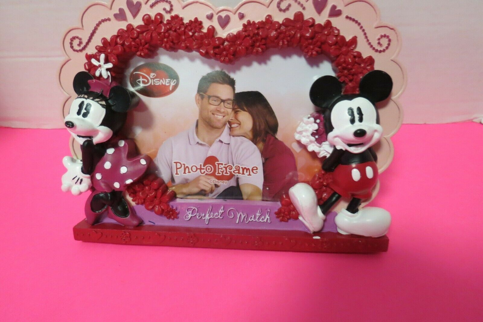 Disney Mickey And Minnie Mouse 3D Ceramic 4 x 6 Photo Frame Perfect Match - $19.95