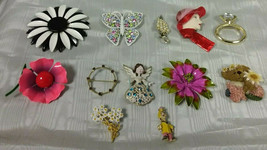Twelve Vintage  Brooches - Variety of Metals, Finishes, Colors & Stones  U-PIC - $4.99+