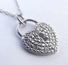 "Padlock 10 DIAMONDS Sterling Silver Pendant & Chain Necklace 18"" Italy - $32.57"