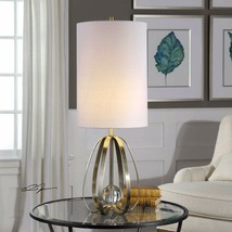 "AVOLA 31"" MODERN DECOR METAL CAGE CRYSTAL SPHERE TABLE LAMP UTTERMOST LIGHT - $165.00"