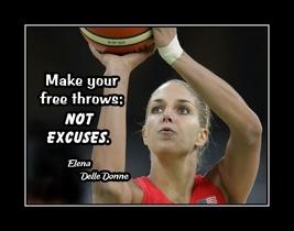 Inspirational Basketball Motivation Quote Poster Elena Delle Donne NO EX... - $19.99+