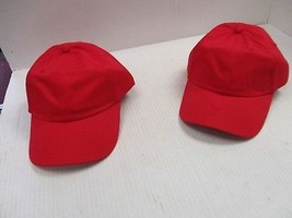 1 PAIR (QTY 2) -NEW VINTAGE ALL RED CAPS/HATS-METAL BUCKLE ADJ-NISSUN-[3... - $5.90