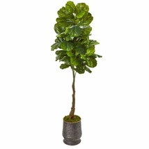 """Multicolor 69"""" Fiddle Leaf Artificial Tree in Ribbed Metal Planter (Real Touch) - $226.37"""