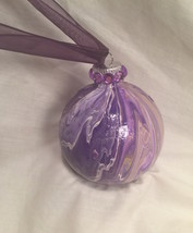 Purple White Gold  Marble Swirl Acrylic Pour Painted Christmas Ornamen R... - $9.99