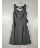 H&M Womens Fit & Flare Dress Size 6 Gray Sleeveless Belted Scoop Neck Ca... - $28.88