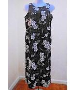 Jennifer Moore 12 Maxi Dress Black White Floral Hawaiian Long Tank Travel - $17.63