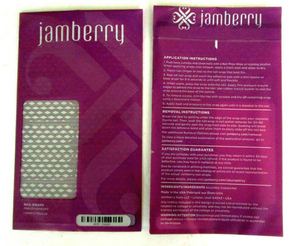 Primary image for Jamberry Nail Wraps DELIGHT Purple & White Diamond Shape