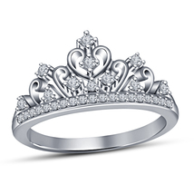Princess Crown Women's Ring Round Cut Sim Diamond 14k White Gold Over 92... - $71.98