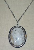 White Black Gray Beige Agate Stone Silver Tone Pendant Necklace Vintage - $24.74