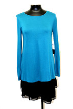 Kensie Dress Collection Sheer Viscose Tees Teal Multi Size Xs My Afc - $64.99