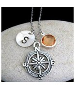 Compass Necklace,Compass Jewelry,Best friend gift-Personalized Initial,F... - $11.40