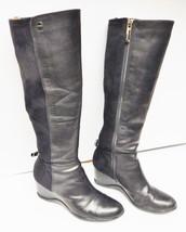 Calvin Klein Tall Boots ILISA Leather Stretch Wedge Zipper Black Women's 7 M - $59.95
